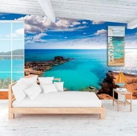 Wall murals beach is caló formentera canary islands