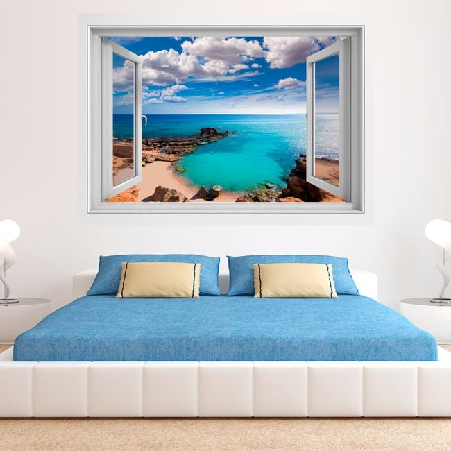 Vinyl windows beach es caló formentera balearic islands 3d