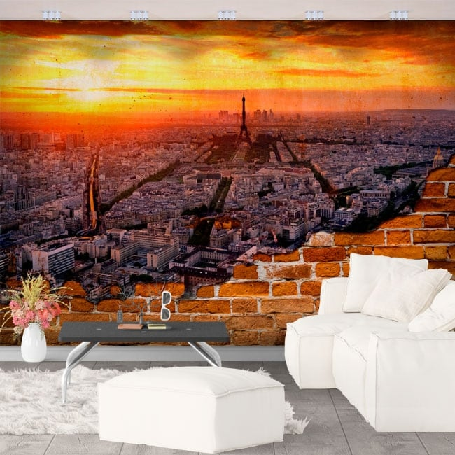 Mural city of paris effect broken wall