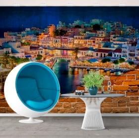 Murals greece agios nikolaos creta island broken wall effect