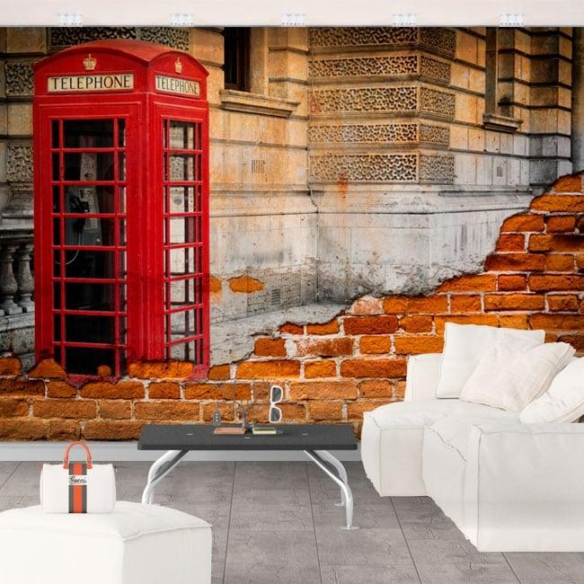 Murals england phone booth london effect broken wall