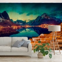 Mural reine islands norway effect broken wall
