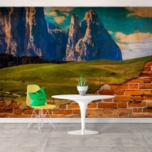 Vinyl murals jagged mountains broken wall effect