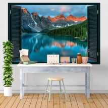 Decorative vinyl windows moraine lake canada 3d