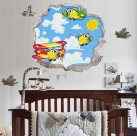 Decorative vinyl children's planes 3d