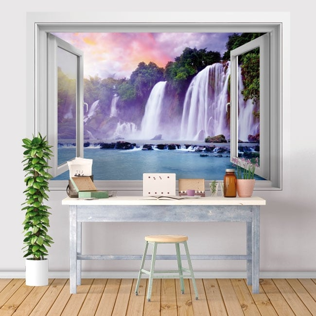 Vinyl windows waterfalls ban gioc detian 3d