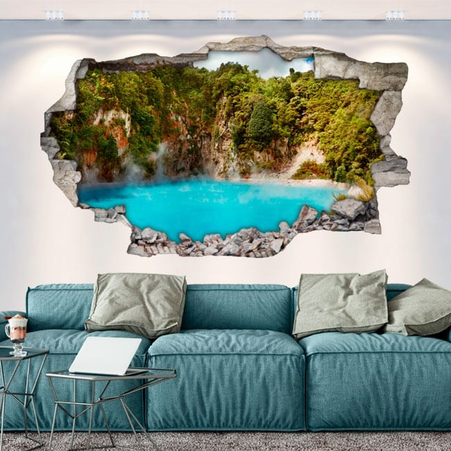Vinyl walls lake crater from hell new zealand 3d