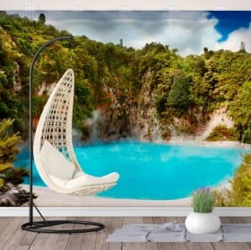 Wall mural lake crater of hell new zealand