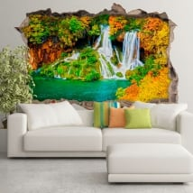 Wall murals waterfall forest in autumn 3d
