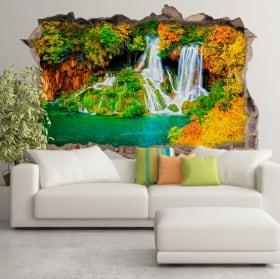 Wall murals waterfall forest in autumn 3d