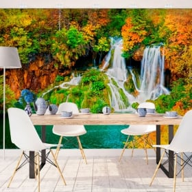 Wall murals waterfall forest in autumn
