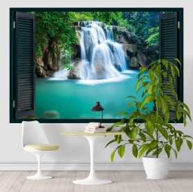 Vinyl windows waterfall in the forest 3d