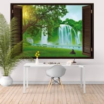 Vinyl window waterfalls ban gioc detian 3d