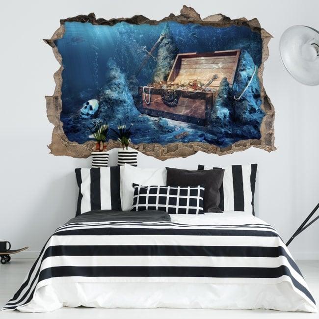 Decorative vinyl treasure chest 3d