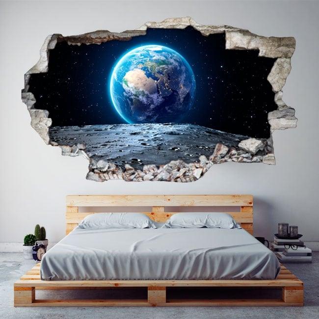 Decorative vinyl earth planet 3d