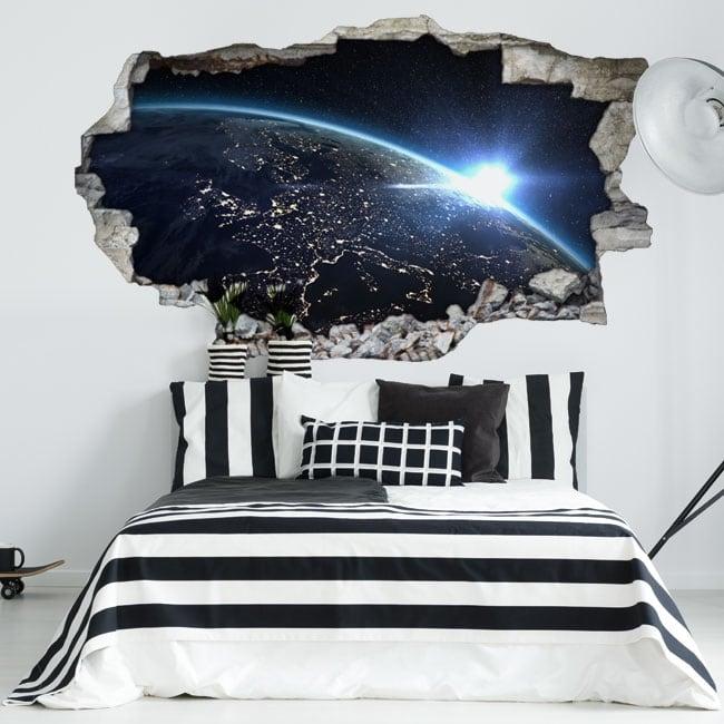 Vinyl hole wall 3d earth planet