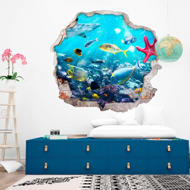 Decorative stickers fish and starfish 3d