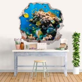 Decorative stickers fish and starfish 3d