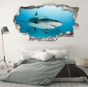 Decorative vinyl for walls 3d shark