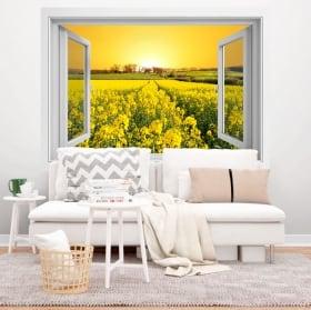 Vinyl window sunset in the field of flowers 3d