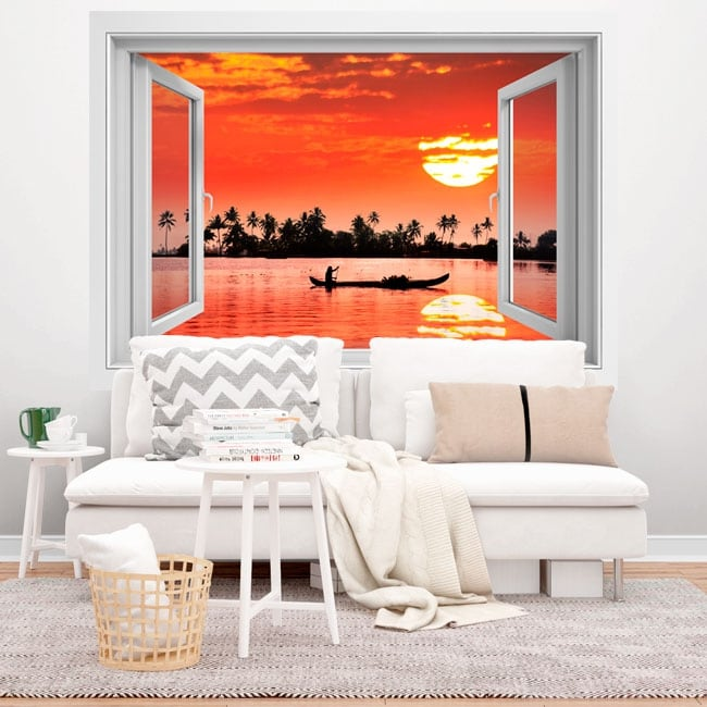 Decorative vinyl 3d tropical sunset
