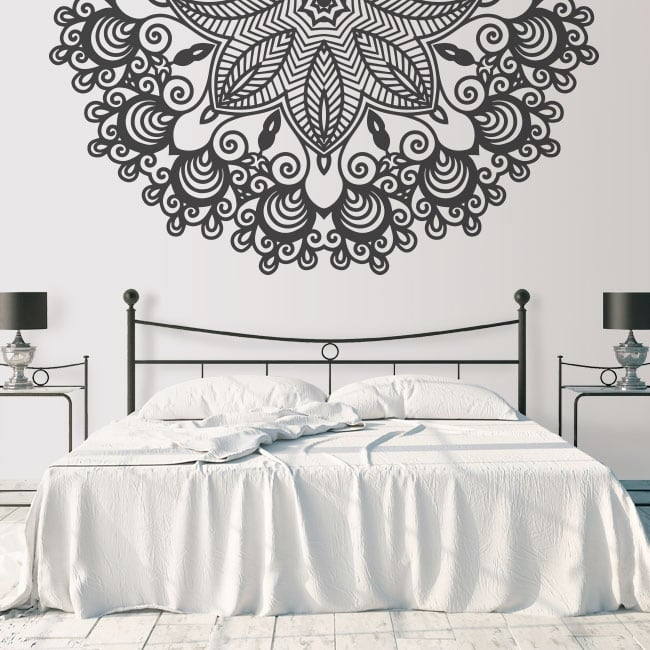 Decorative vinyl half mandala