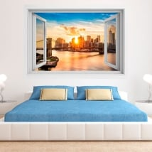 Vinyl manhattan sunset and brooklyn bridge 3d