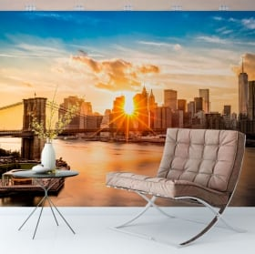 Wall murals sunset bridge of brooklyn manhattan