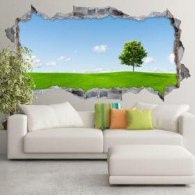 Vinyl hole wall panoramic tree cherry blossom 3d