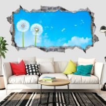 Decorative vinyl dandelion flowers 3d