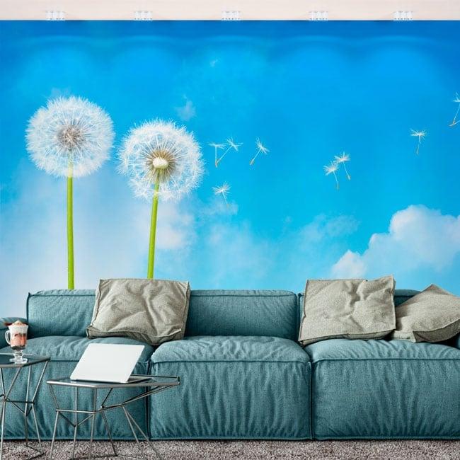 Vinyl wall murals dandelion flowers