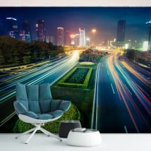 Vinyl wall murals colors city at night