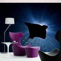 Vinyl wall murals stingray in the ocean