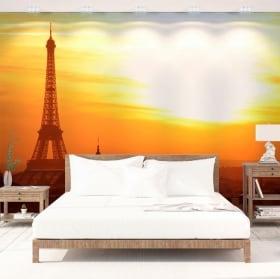 Vinyl wall murals sunset in paris eiffel tower