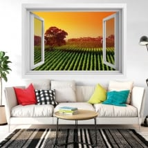 Decorative vinyl window sunset in the vineyard 3d