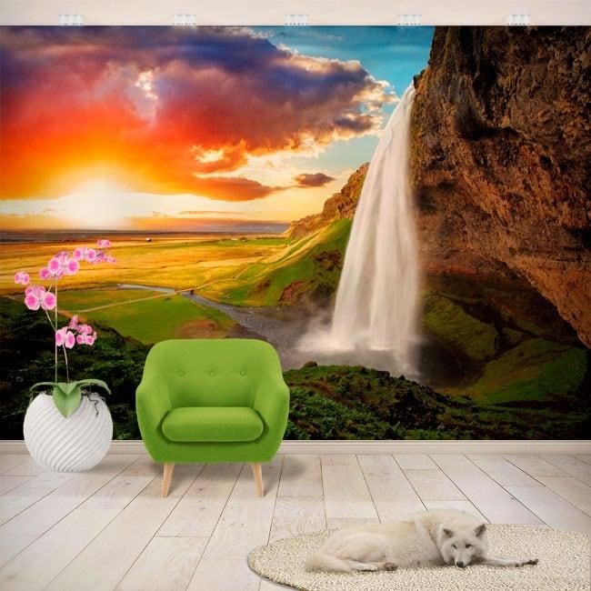 Vinyl wall murals waterfall seljalandsfoss iceland