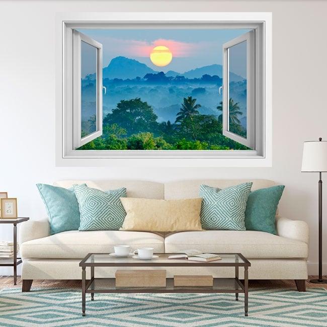Vinyl windows sunset nature sri lanka 3d