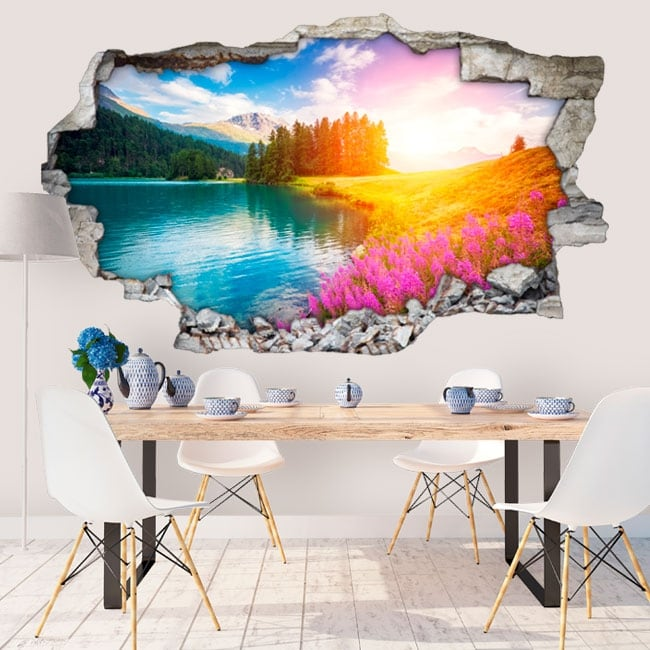 Decorative vinyl champfèr swiss lake 3d