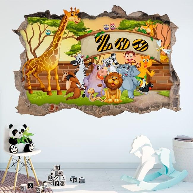 Decorative vinyl 3d children's zoo