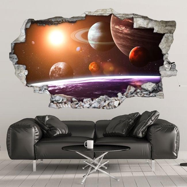 Decorative vinyl walls 3d solar system