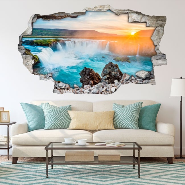 Decorative vinyl sunset waterfalls godafoss iceland 3d