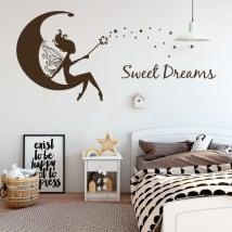 Decorative vinyl fairy on the moon sweet dreams