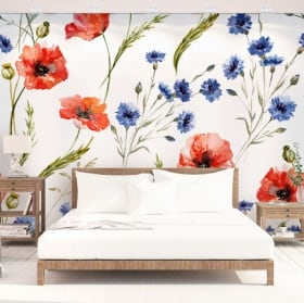Vinyl wall murals with flowers to decorate