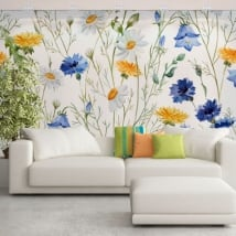 Vinyl murals flowers to decorate