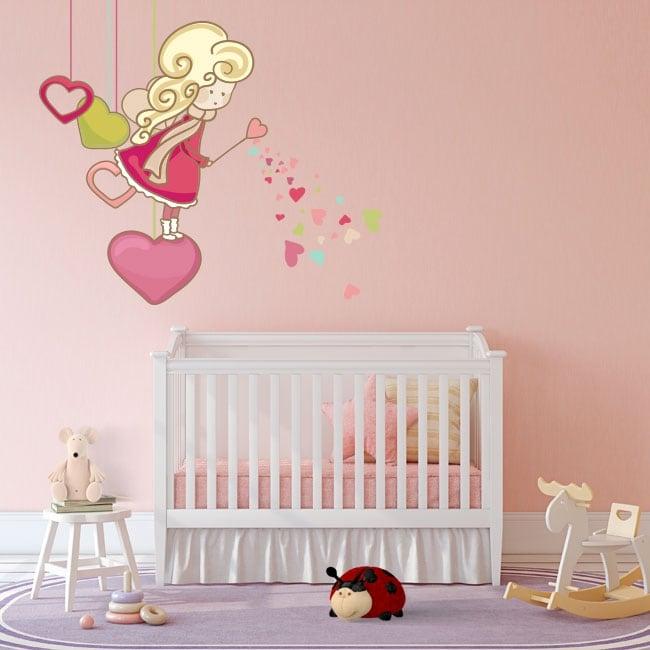 Children's vinyl fairy silhouette hearts