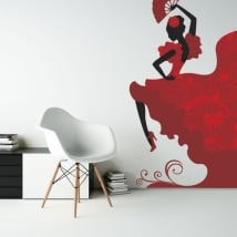 Decorative vinyl flamenco dancer silhouette
