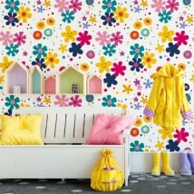 Vinyl wall murals happy face flowers