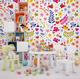 Vinyl wall murals happy face flowers