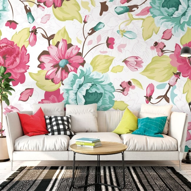 Wall murals of vinyl with flowers to decorate
