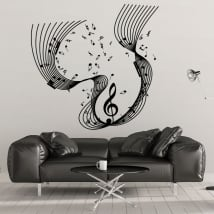 Decorative vinyl pentagram music notes